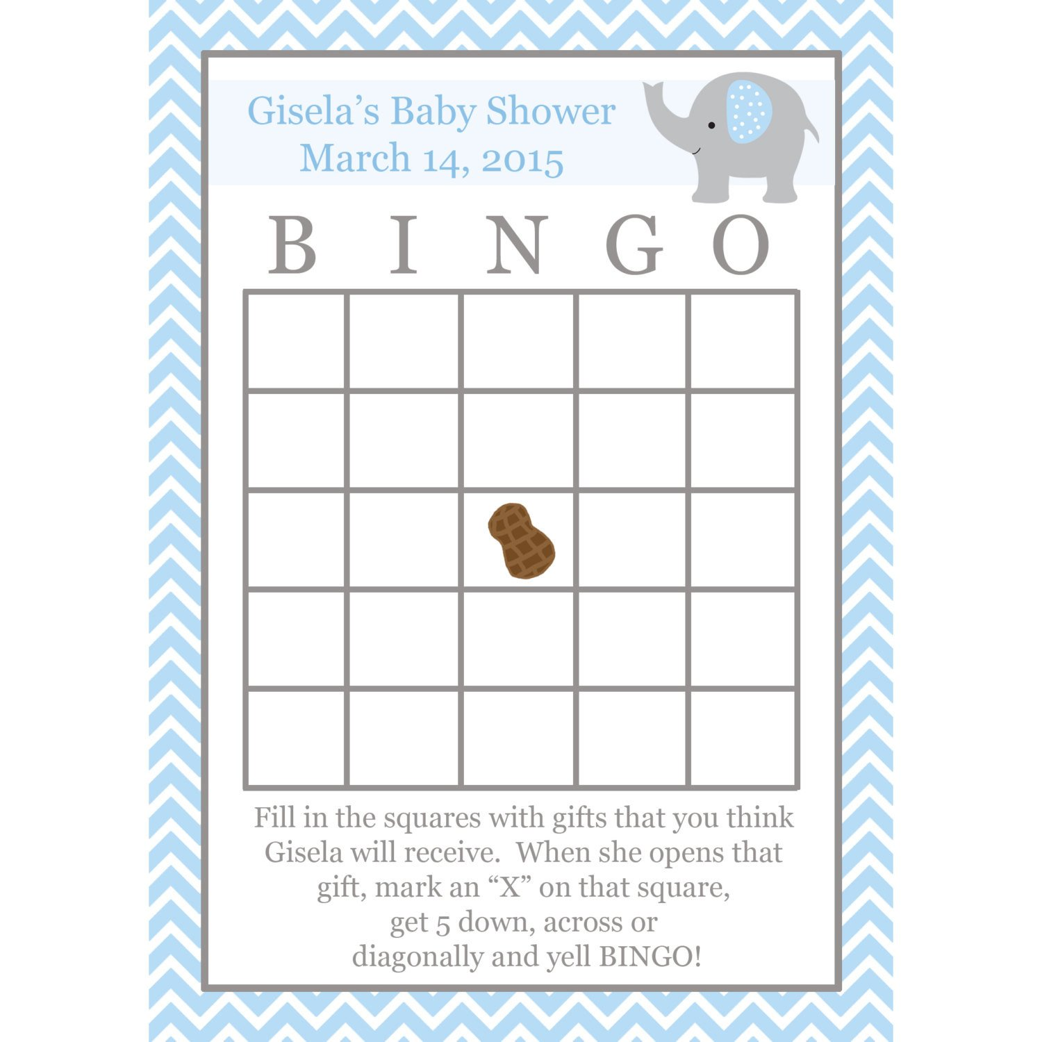 Baby Shower Bingo Template 24 Personalized Baby Shower Bingo Cards Elephant Blue