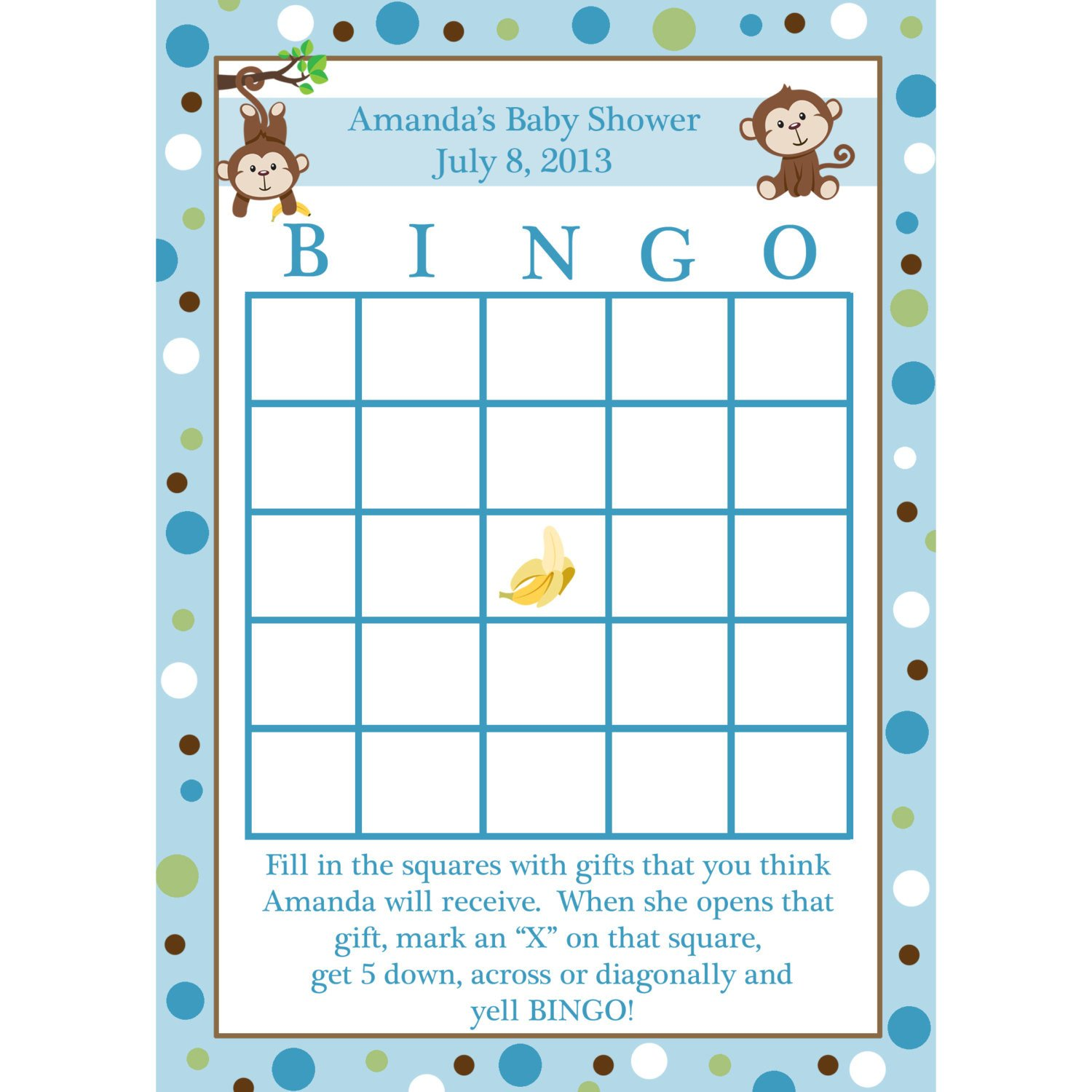 Baby Shower Bingo Template 24 Personalized Baby Shower Bingo Cards Little Monkey