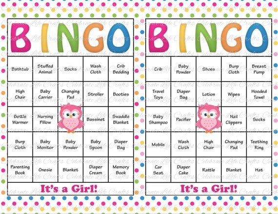 Baby Shower Bingo Template 30 Baby Shower Bingo Cards Printable Baby Girl Instant