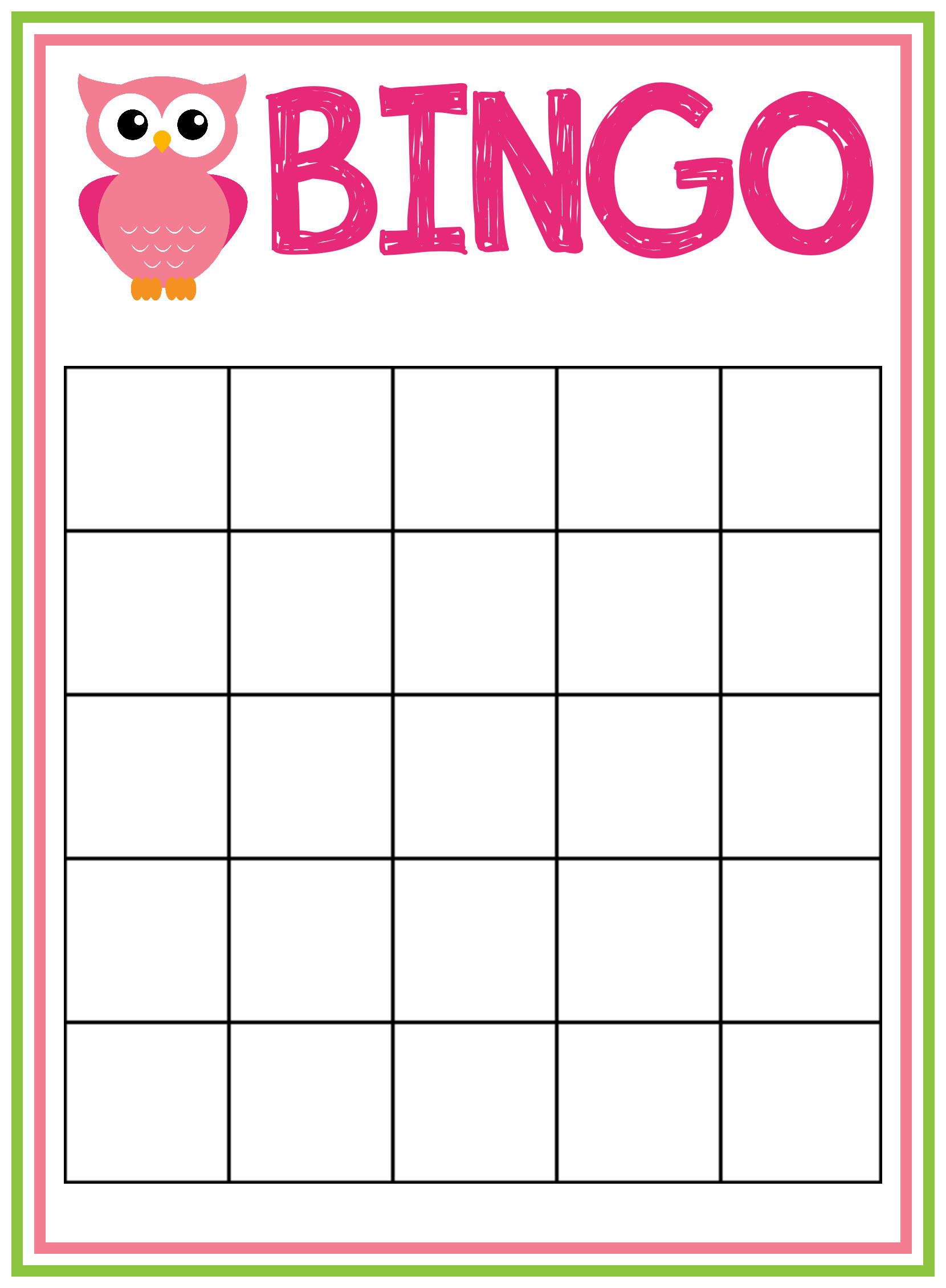 Baby Shower Bingo Template Baby Shower Bingo Cards