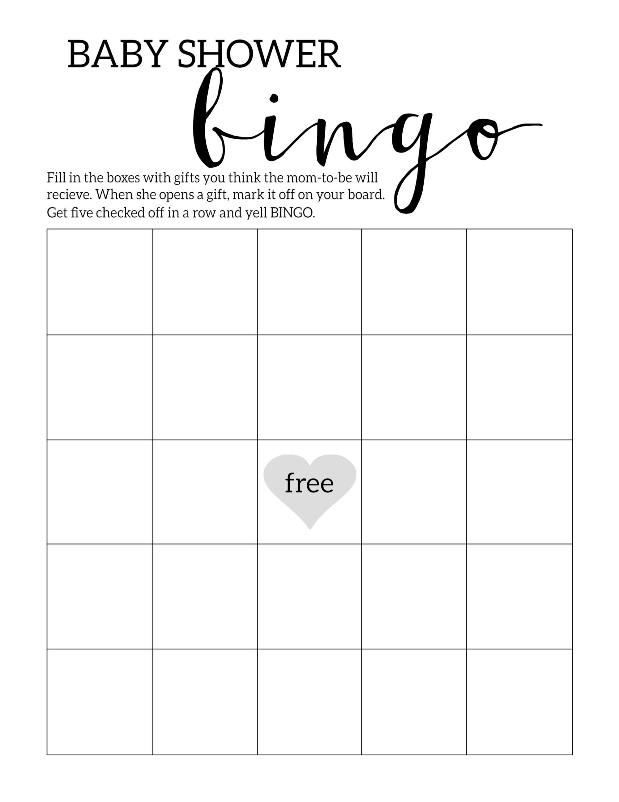 Baby Shower Bingo Template Baby Shower Bingo Printable Cards Template Paper Trail