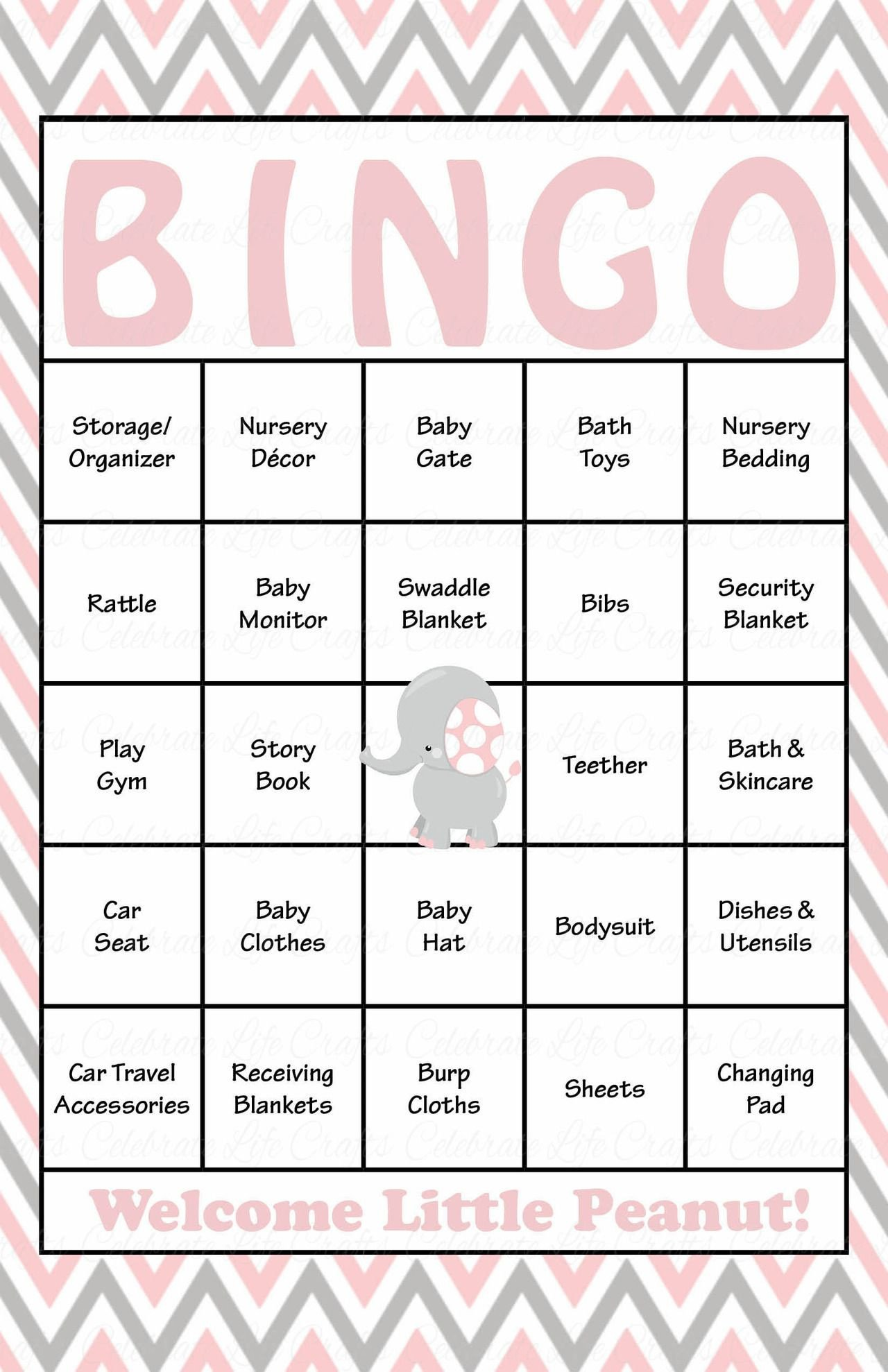 Baby Shower Bingo Template Elephant Baby Shower Baby Bingo Cards Printable