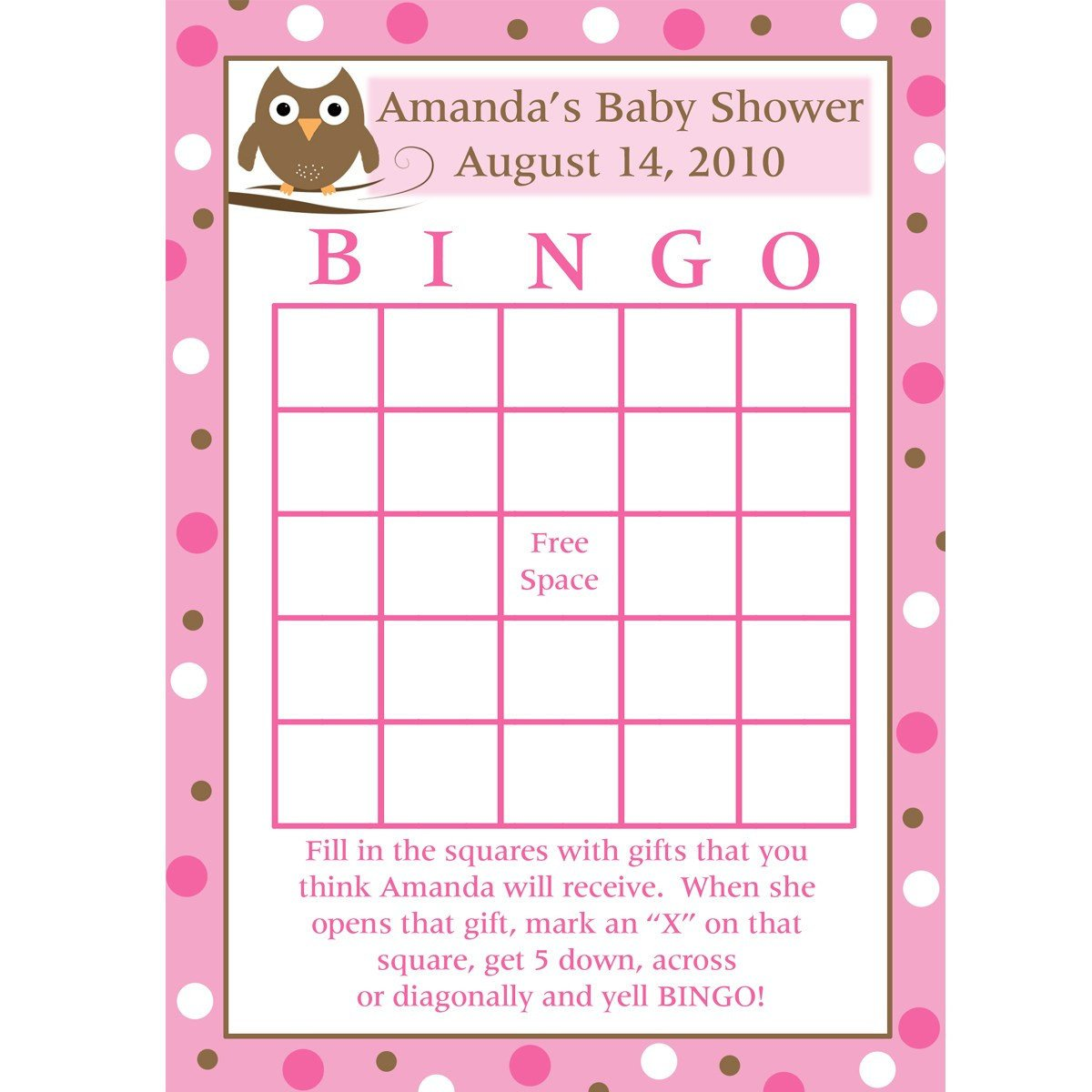 Baby Shower Bingo Template Printable Baby Shower Bingo Cards Pink Baby Owl Design
