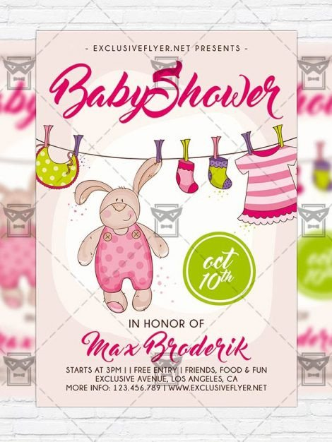 Baby Shower Flyers Template Baby Shower Vol5 – Premium Flyer Template Instagram Size