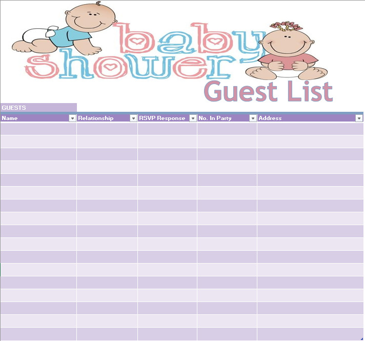 Baby Shower Guest List 17 Free Baby Shower Guest List Templates Ms Fice