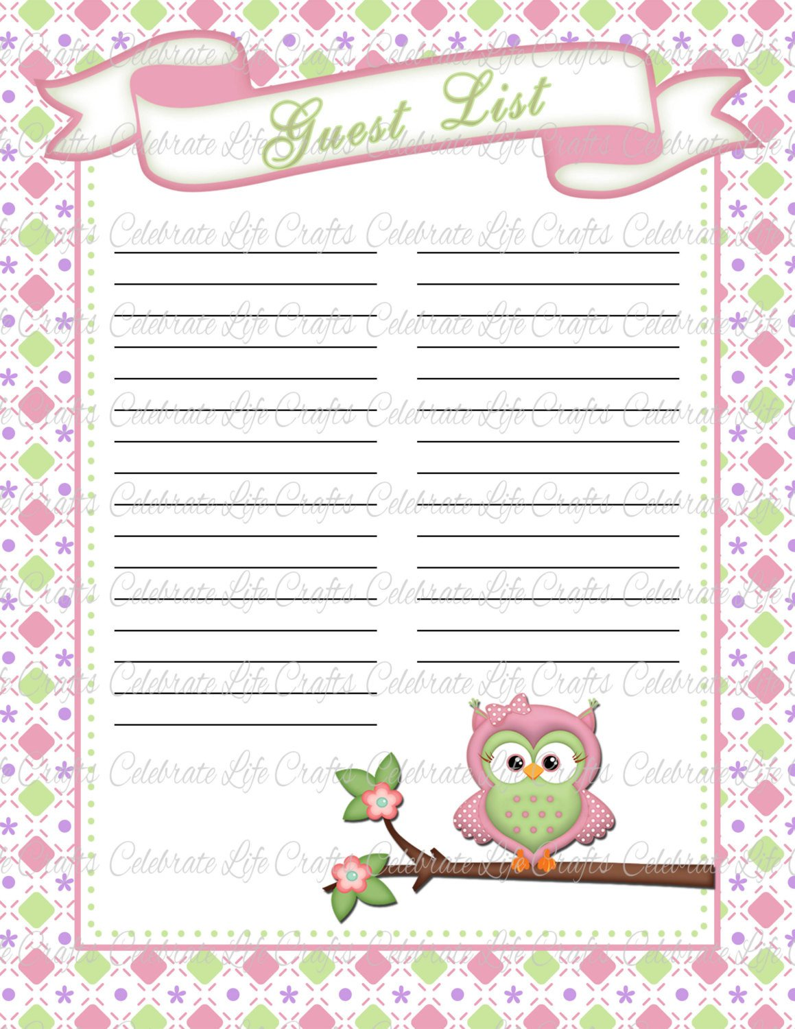 Baby Shower Guest List Baby Shower Guest List Printable Baby by Celebratelifecrafts