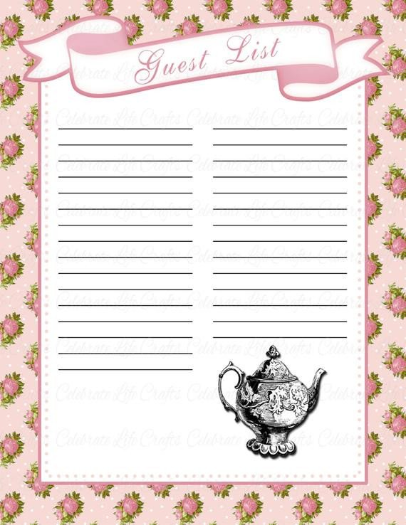 Baby Shower Guest List Baby Shower Guest List Printable Baby Shower Party