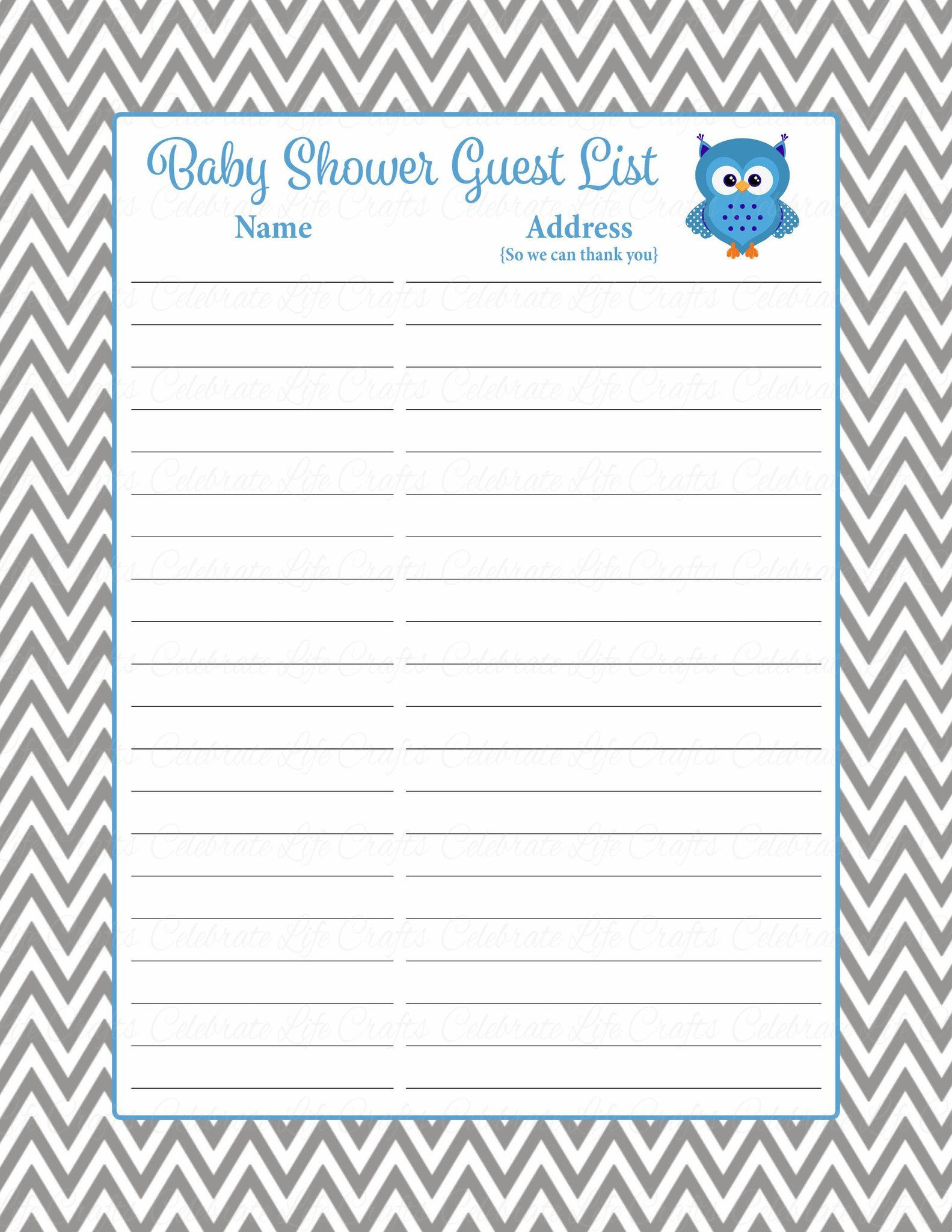 Baby Shower Guest List Baby Shower Guest List Set Owl Baby Shower theme for