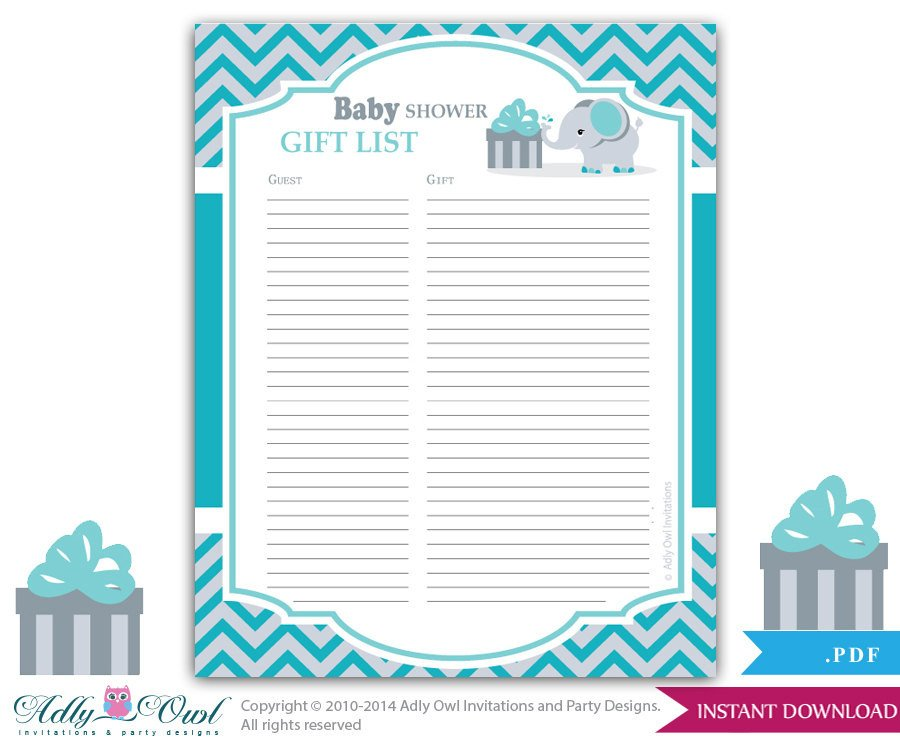 Baby Shower Guest List Boy Elephant Guest Gift List Guest Sign In Sheet Card for