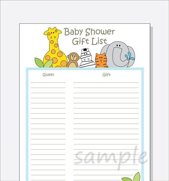 Baby Shower Guest List Diy Baby Shower Guest Gift List Printable Jungle Animals
