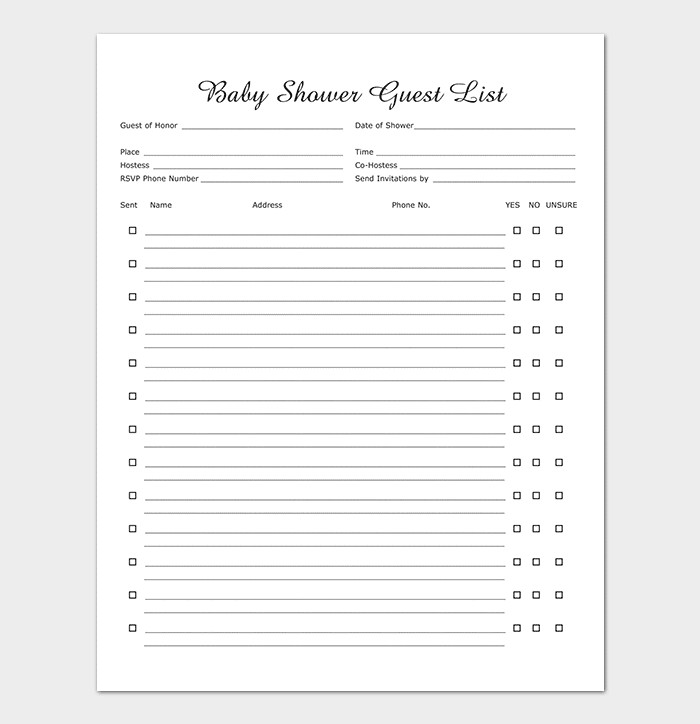 Baby Shower Guest List Guest List Template 22 for Word Excel Pdf format