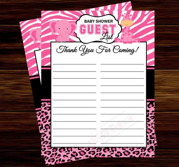 Baby Shower Guest List Pink Safari Baby Shower Guest List Instant Download
