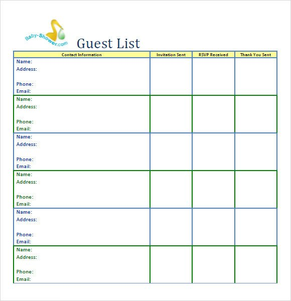 Baby Shower Guest List Sample Guest List 8 Documents In Pdf Word Excel