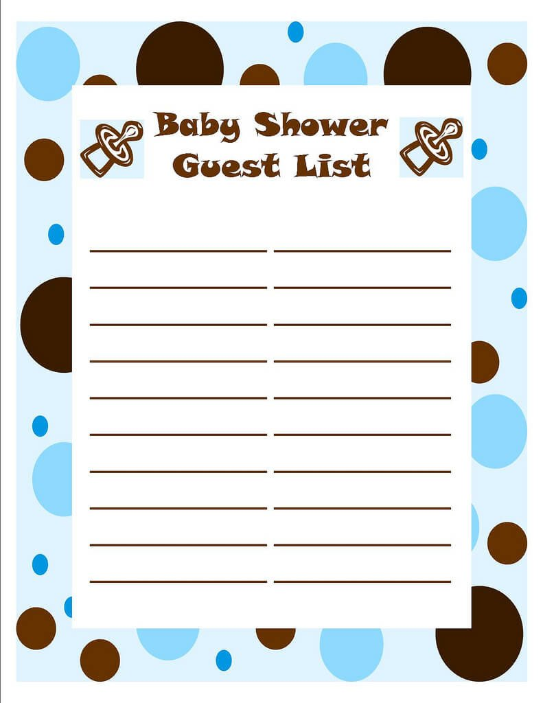 Baby Shower Guest List Template Of Baby Shower Guessing Game and Guest List