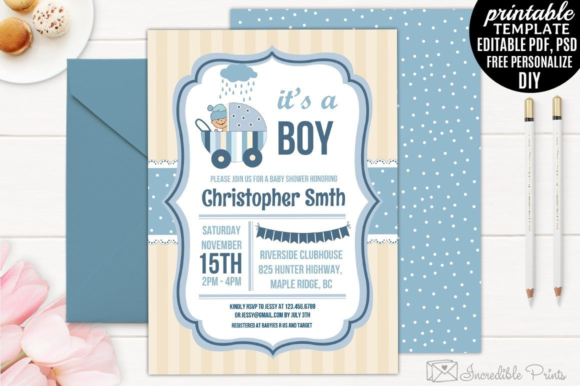 Baby Shower Invitation Template Boy Baby Shower Invitation Template Invitation Templates