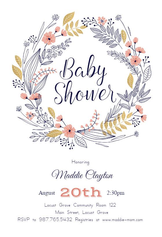 Baby Shower Invitation Template Friendship Wreath Baby Shower Invitation Template Free