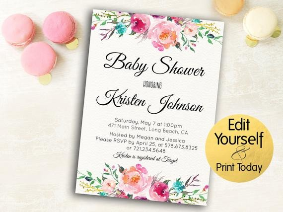 Baby Shower Invitations Templates Editable Baby Shower Invitation Template Editable Baby Shower Invite