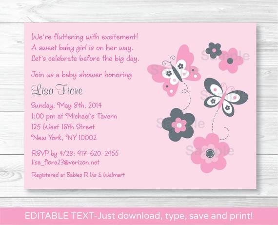 Baby Shower Invitations Templates Editable Pink Gray butterfly Flowers Printable Baby Shower
