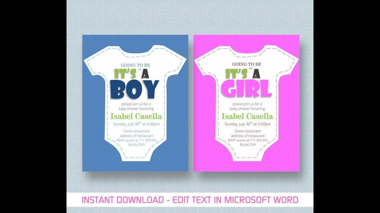 Baby Shower Invite Template Word Baby Shower Invitation Template for Ms Word