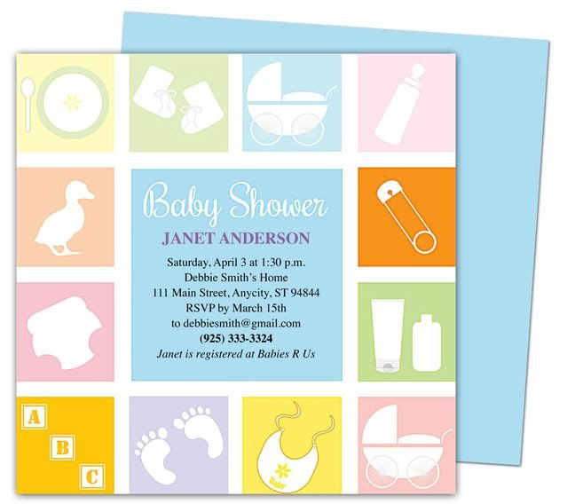 Baby Shower Invite Template Word Baby Shower Invitations Template Blocks Shower