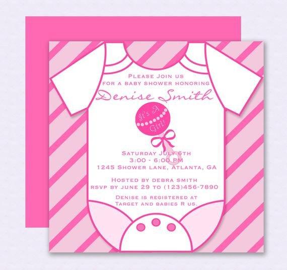 Baby Shower Invite Template Word Pink Esie Baby Shower Invitation Editable Template