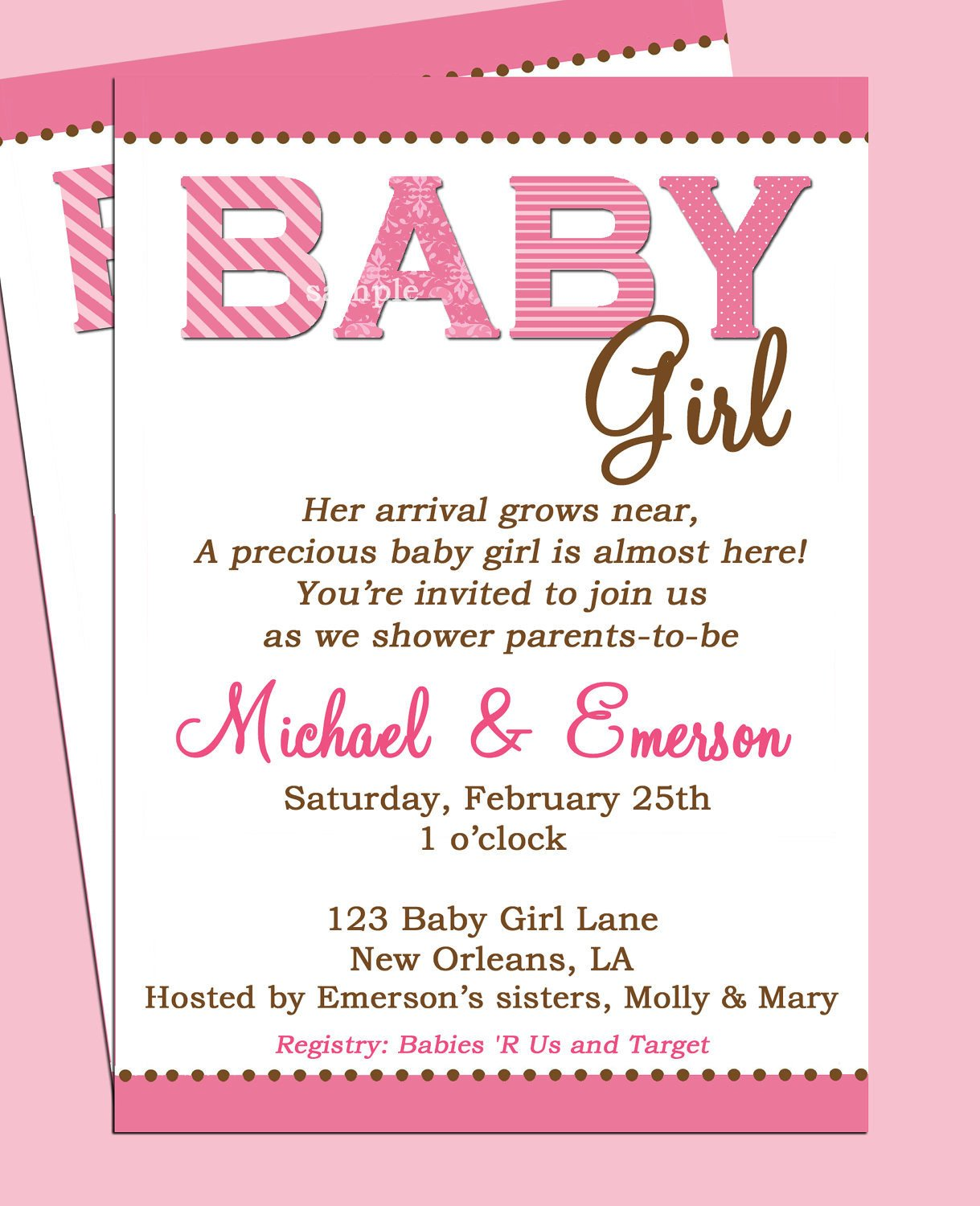 Baby Shower Invite Templates Baby Shower Invitation Printable or Printed with Free Shipping