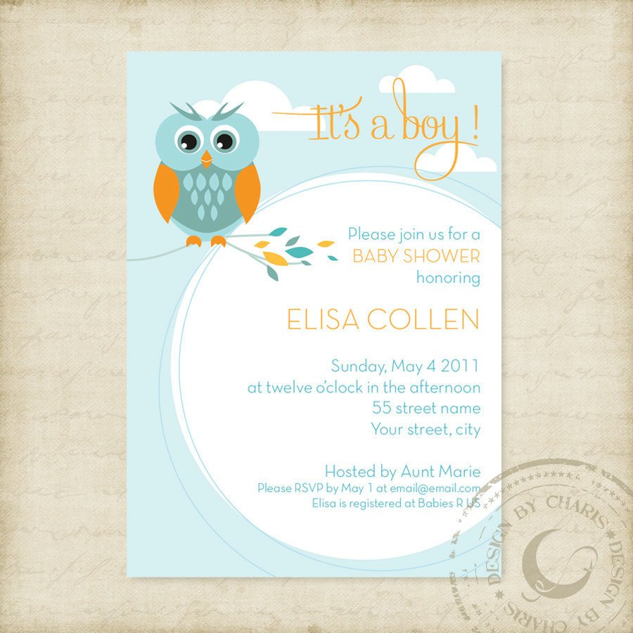 Baby Shower Invite Templates Baby Shower Invitation Template Owl theme Boy or Girl