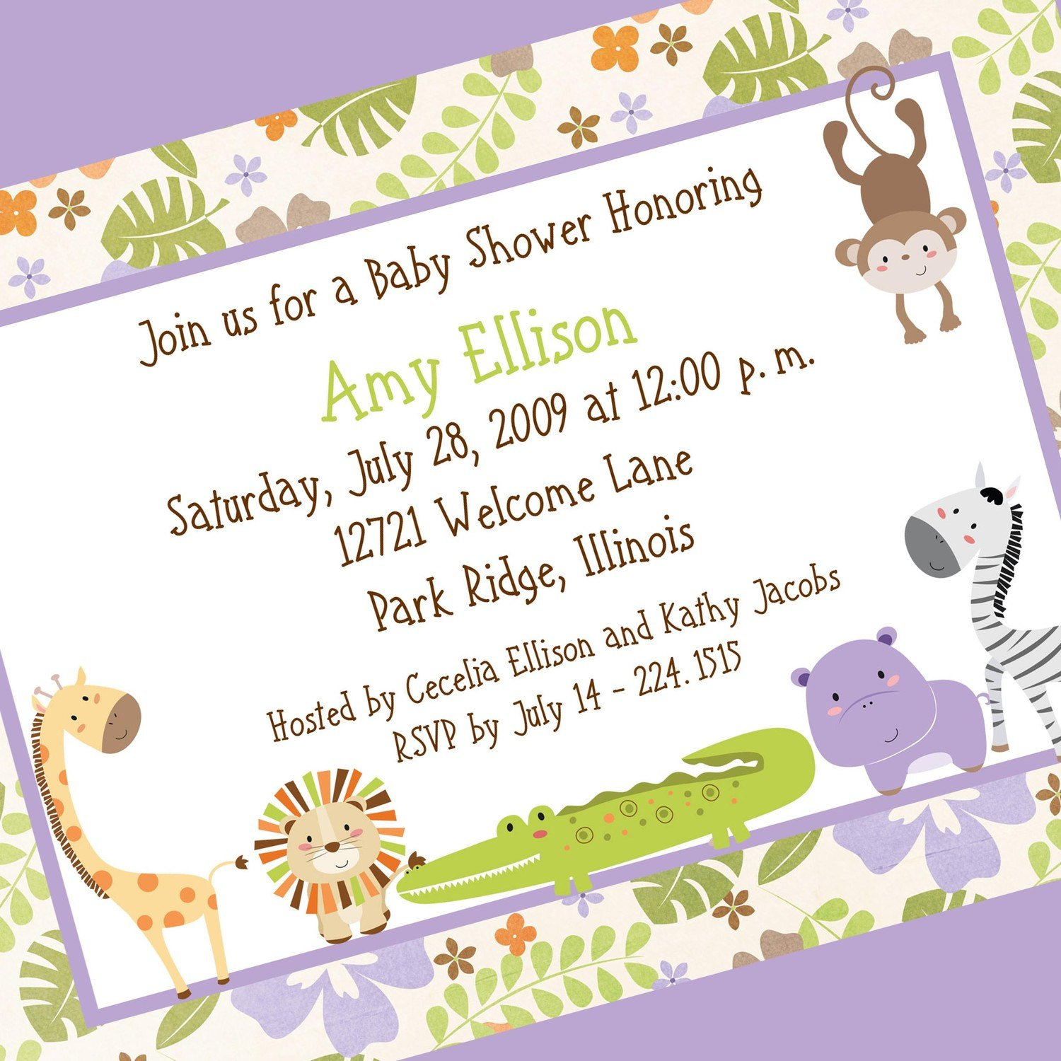 Baby Shower Invite Templates Floral Jungle Baby Shower Invitation Printable by