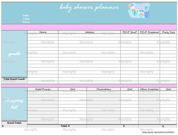 Baby Shower Planner Template Baby Shower Planner organizer Printable Pdf by Tidymighty