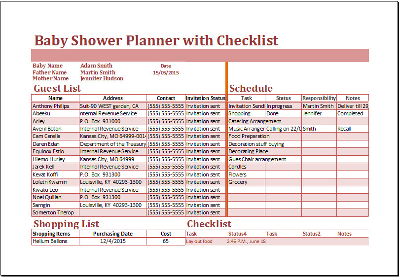 Baby Shower Planner Template Excel Baby Shower Planner with Checklist Template