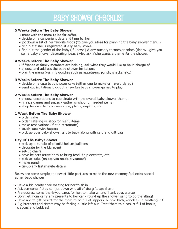 Baby Shower Planning Checklist 24 Helpful Baby Shower Checklists