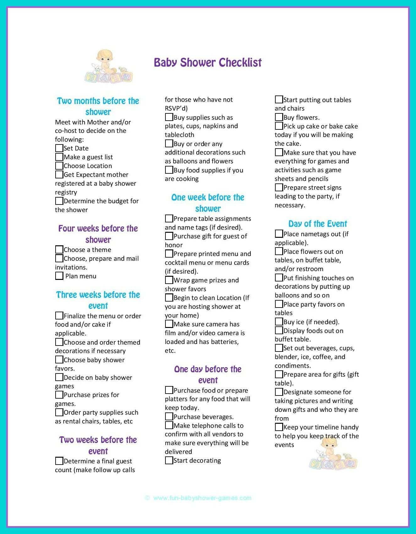 Baby Shower Planning Checklist Baby Shower Checklist to Help Plan the Perfect Baby Shower