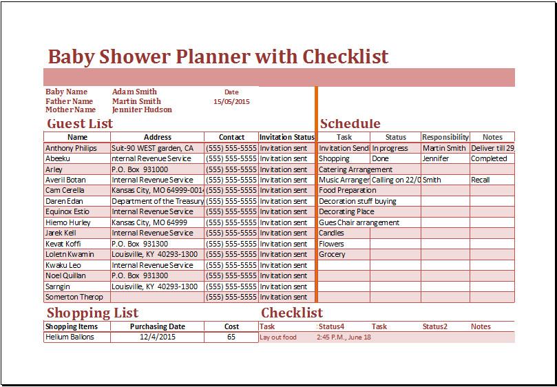 Baby Shower Planning Checklist Excel Baby Shower Planner with Checklist Template