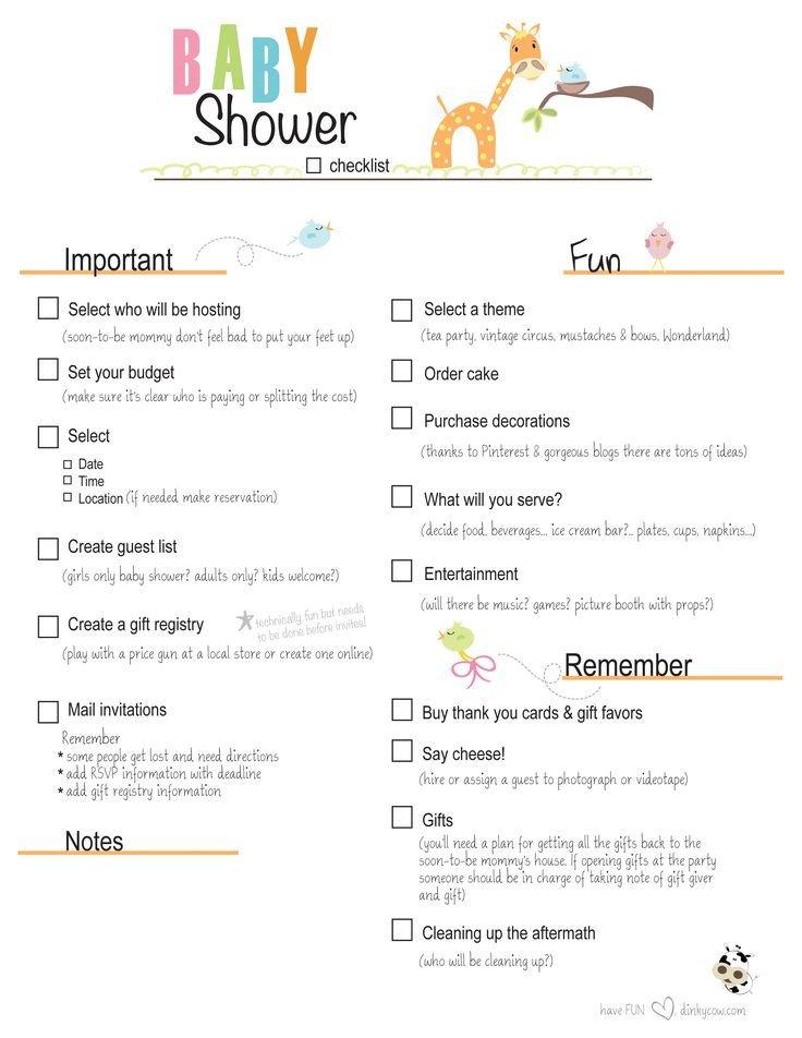 Baby Shower Planning Checklist Free Printable Baby Shower Checklist
