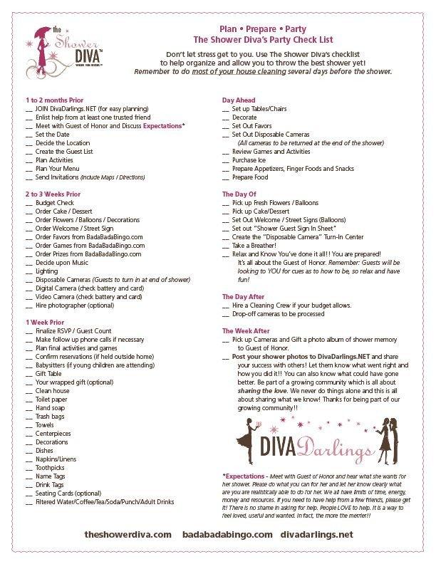 Baby Shower Planning Checklist Party Planning Checklist for Baby Showers Bridal Showers