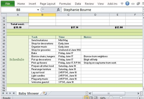 Baby Shower Planning Template Baby Shower Planner for Excel