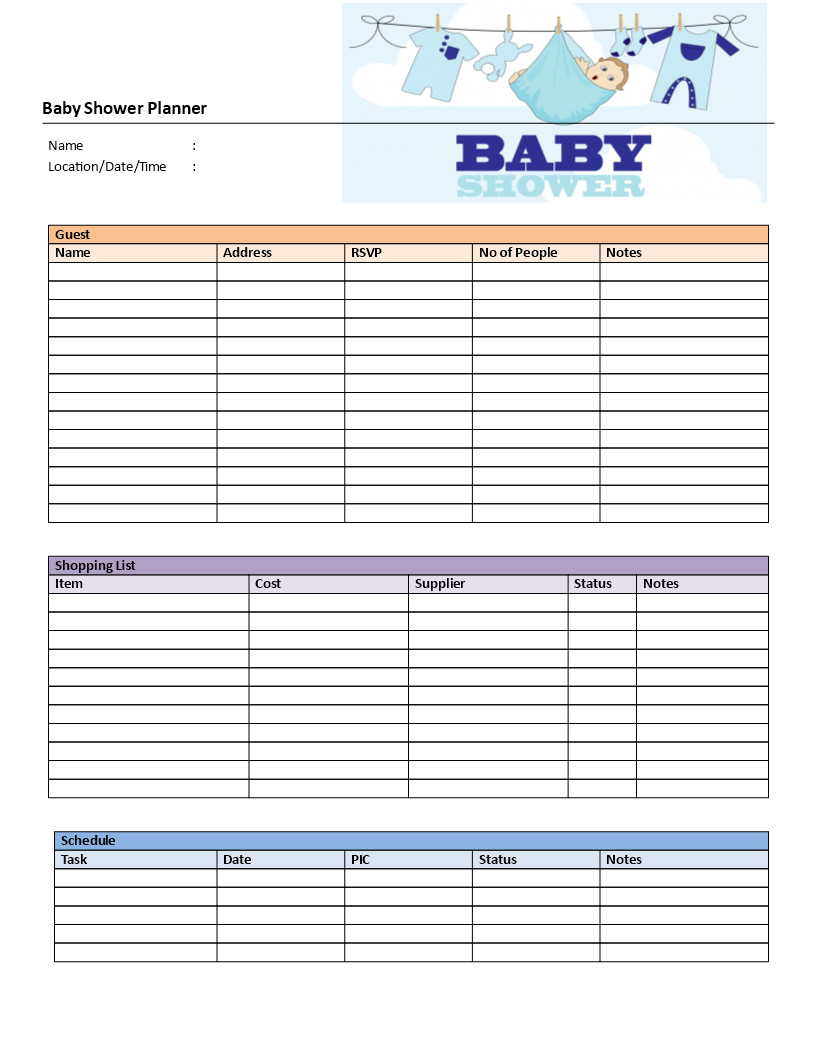 Baby Shower Planning Template Baby Shower Planner