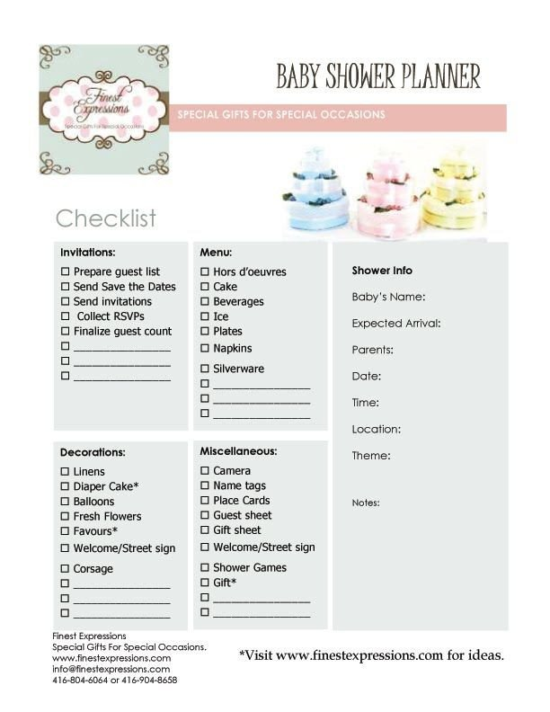 Baby Shower Planning Template Baby Shower Planning