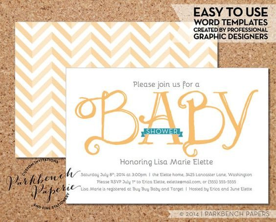 Baby Shower Template Word Baby Shower Invitation Yellow Ribbon Diy Editable Word