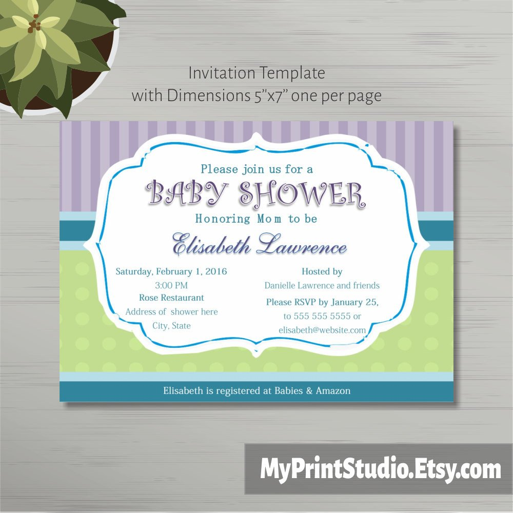Baby Shower Template Word Printable Baby Shower Invitation Template In Ms Word Boy Girl