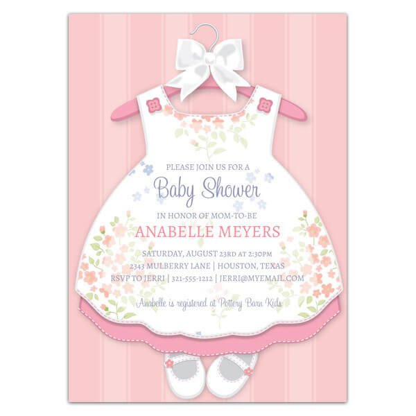 Baby Shower Templates Girl Baby Girl Dress Invitations