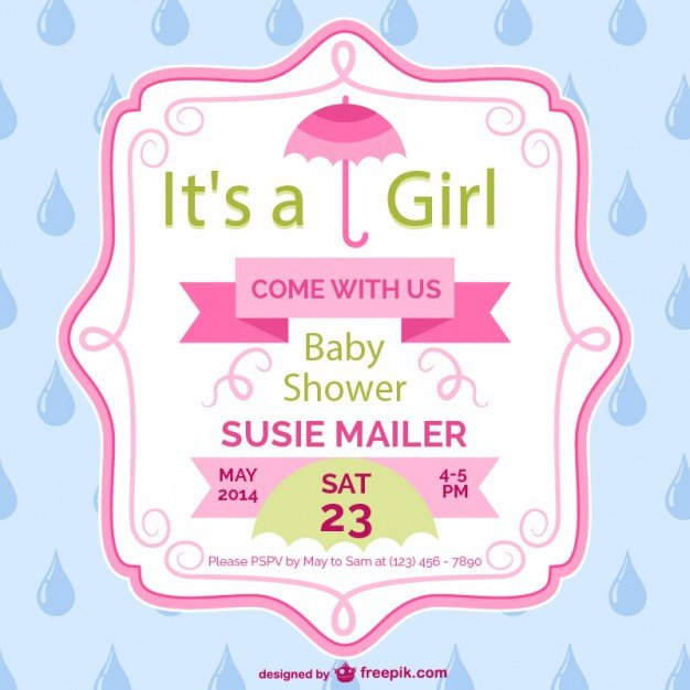 Baby Shower Templates Girl Baby Shower Girl Card Template Design Vector