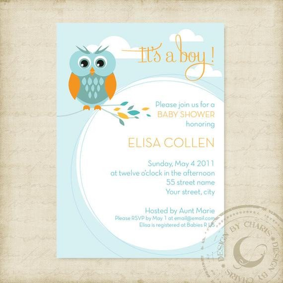 Baby Shower Templates Girl Baby Shower Invitation Template Owl theme Boy or Girl