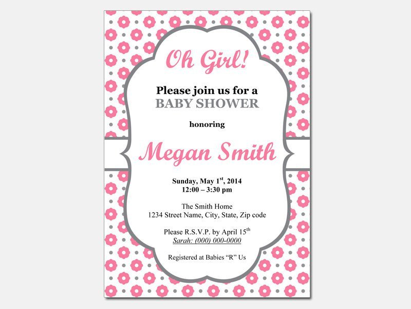 Baby Shower Templates Girl Baby Shower Invitations for Word Templates Party Xyz