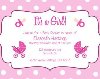 Baby Shower Templates Girl Baby Shower Invite Template Printable Free Business Card