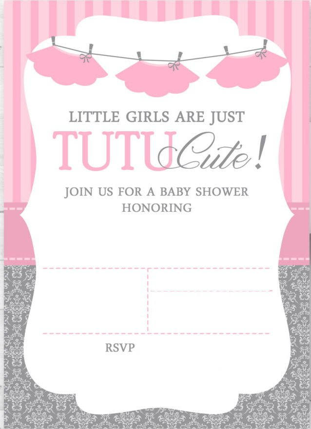 Baby Shower Templates Girl Cute Ballerina Baby Shower Invitations Free