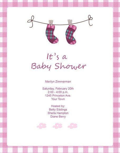 Baby Shower Templates Girl Cute Pink socks Baby Shower Invitation Template