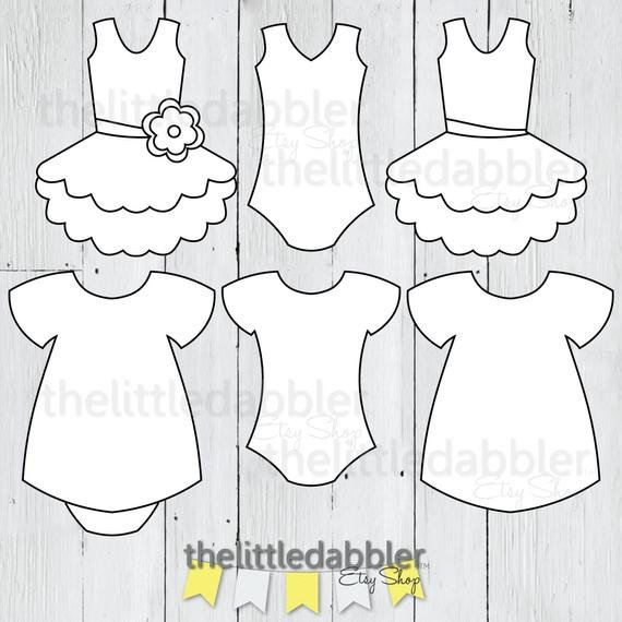 Baby Shower Templates Girl Dress and Tutu Templates Baby Shower Girl Esie Baby Dress