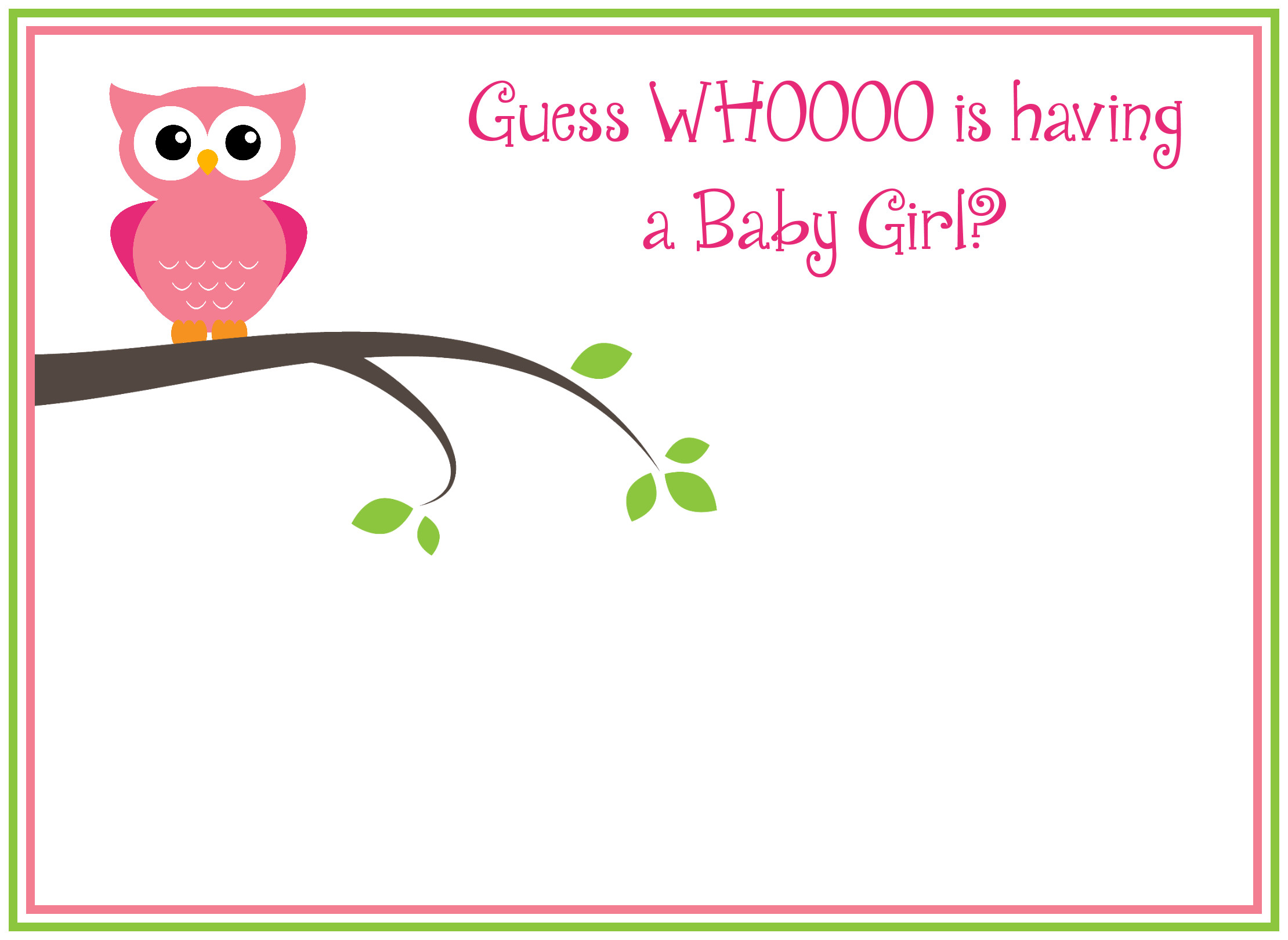 Baby Shower Templates Girl Free Printable Girl S Owl Baby Shower Invitations