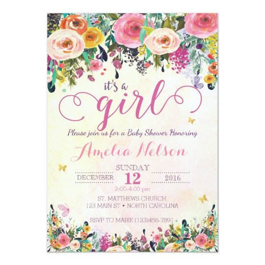 Baby Shower Templates Girl It S A Girl Floral Garden Baby Shower Invitation